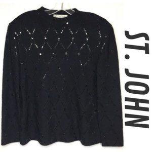 ST.JOHN EVENING Black Sequin Cocktail Sweater Sz 8